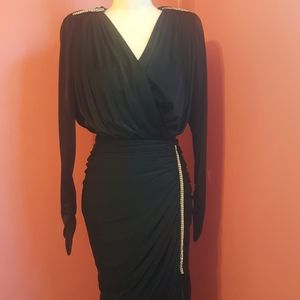 80s Classic Ruched Black Evening Gown